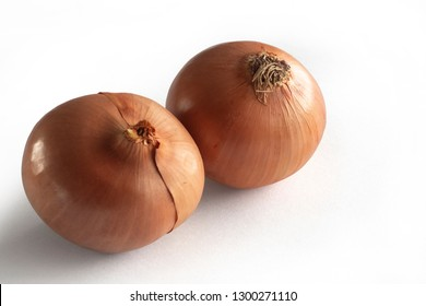 Two Onions on a white background