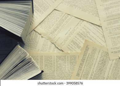 Two open books on a background of scattered dictionary pages. Top view . Toned in blue