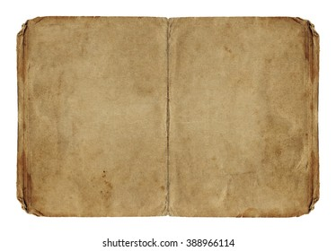 Two open paper pages with old spots isolated on white background. Vintage book.