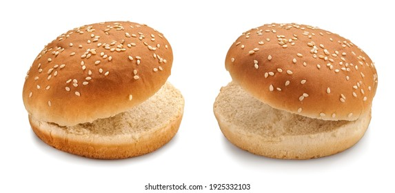 Two opened burger buns with sesame seeds, close up