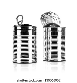 Two Opened tin cans on a white background