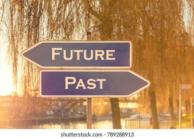 Two opposing signs with the words future and past as motivational aid