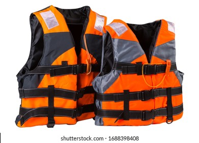 two orange life jackets, stand in a row, child and adult life jackets, concept, on a white background, isolate
