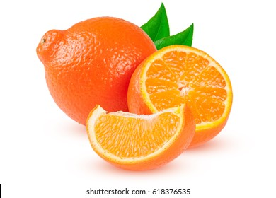 two orange tangerine or Mineola with slices and leaf isolated on white background