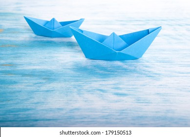 Two Origami Boats in the Sea, Nautical Background