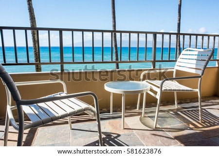 Fine Two Outdoor Chairs On Balcony View Stock Photo Edit Now Interior Design Ideas Clesiryabchikinfo