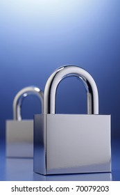 Two padlocks isolated on the background.