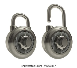 Two padlocks, one closed the other open in the same position and over white (easy to isolate).