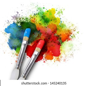 Two paintbrushes are painting a rainbow splattered art project. The brushstrokes are messy on a white isolated background.