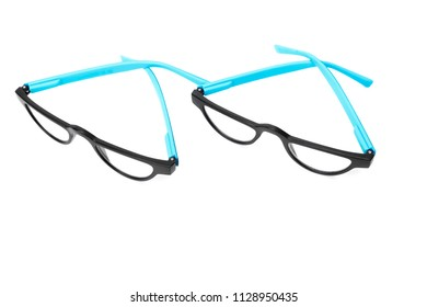 Two pair of black spectacles isolated on white background
