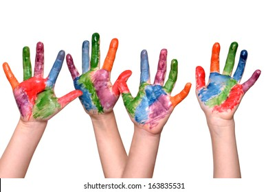 two pair child hands painted isolated white background