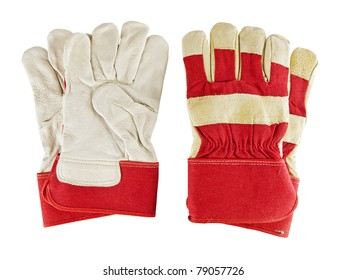 Two pair of work gloves over the white background