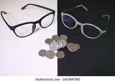 Two pairs of contrasting glasses appear to be discussing money.