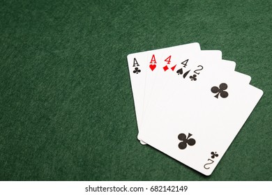 Two pairs, the eighth highest value hand in poker. two cards of the same value supported by another two cards of the same value