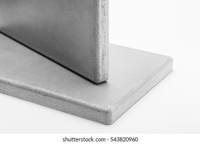 Two panels made of concrete on a white background closeup