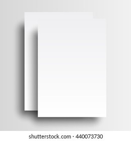 Two paper A4 mockup isolated on white background. Raster copy of vector file.