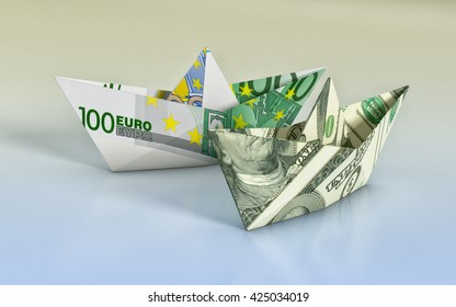 two paper boats made with dollar and euro banknotes, concept of business and finance (3d render)