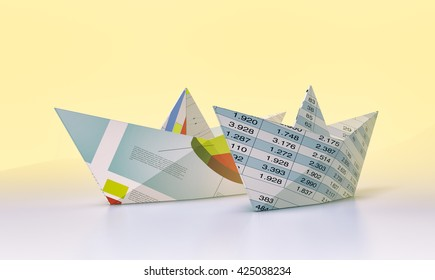 two paper boats made with financial documents (3d render)