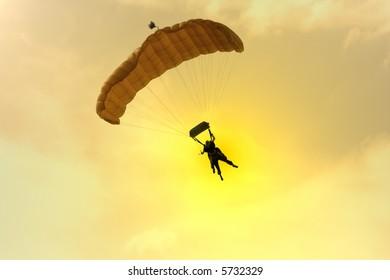 two Parachuter at sunset