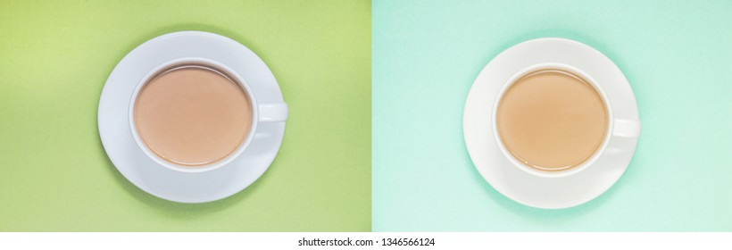 two pare cups of coffee with milk on a colored background, top view banner