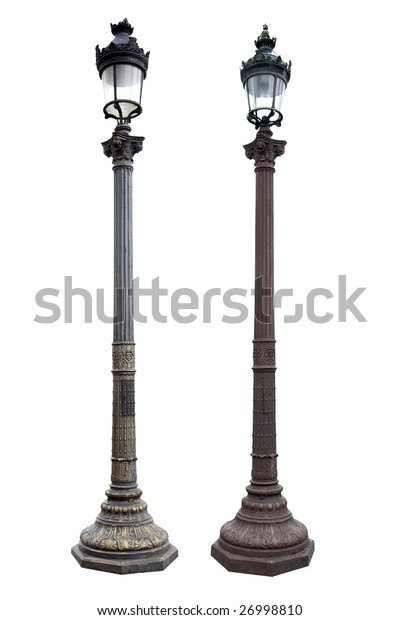 Two Paris street lights isolated on white