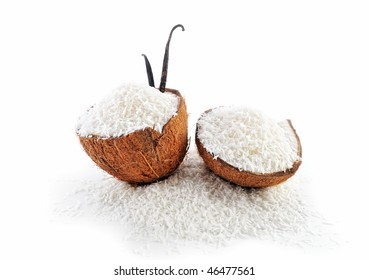 Two part of coconut parts is filled with crumbs