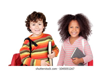 Two parter of the school isolated on a white background