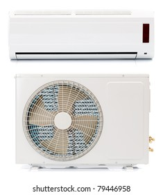 The two parts of an air conditioner
