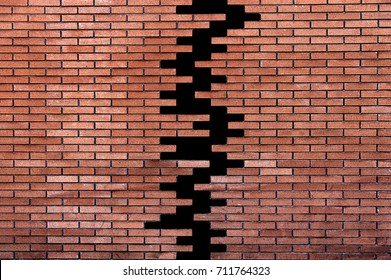 two parts of old brown brick wall with copy space