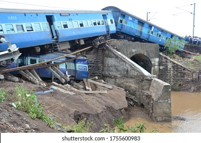 Two passenger trains derailed due to heavy rain and water logging on railway track near Harda city, Madhya Pradesh, India on 5 August 2015
