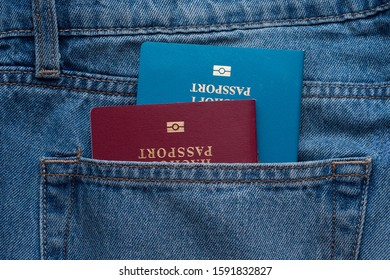Two passports the man in the jeans pocket. Dual citizenship
