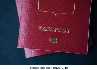 two passports on a dark background, copy paste