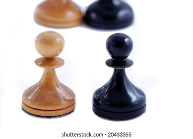 two pawns: black and white