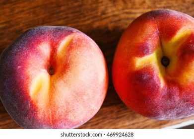 Two peaches close-up