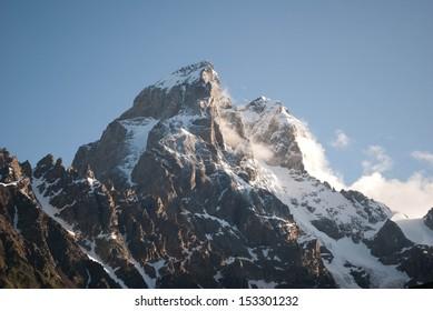 two peaks of mountain Ushba, Georgia