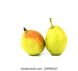 two pears fruit isolated on white background