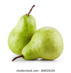 two pears isolated on white background. Clipping Path