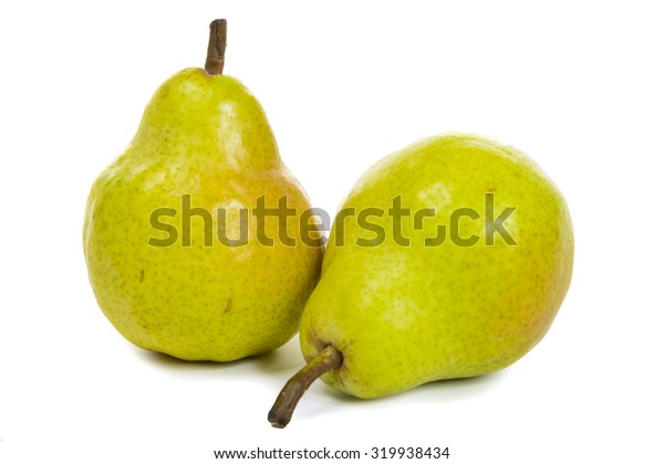 two pears isolated on white background