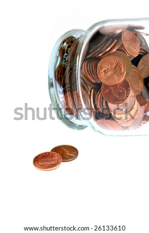 Two Pennies For Your Two Cents Worth On White With A Jar Of Pennies