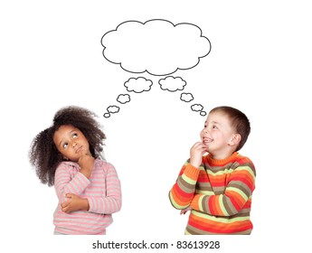 Two pensive children isolated on white background