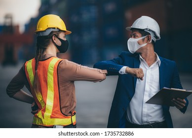 Two people bump elbows to avoid coronavirus COVID-19. Co-worker demonstrating a new way of greeting during coronavirus epidemic. Health care concept. Social distancing.