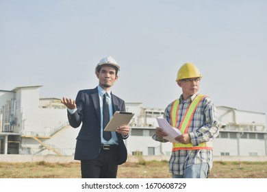 Two people businessman talking communication Architecture construction building project