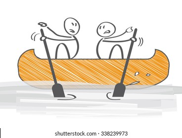 Two People in Canoe Paddling in Opposite Directions - illustration