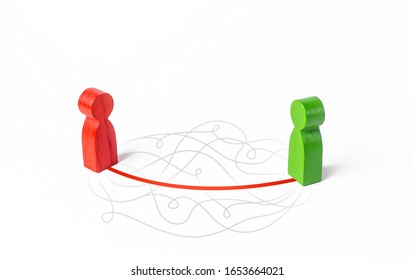 Two people contact in shortest possible way. Communication skills, ask directly, omit formalities. Manipulation and influence. Achieves respect and understanding. Confidence and charisma.
