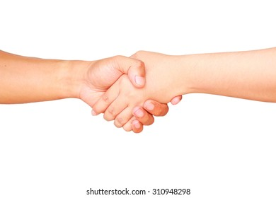 Two people hands holding together mean begin for relationship