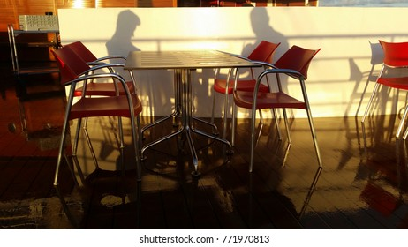 Two people with her Shadow on the wall