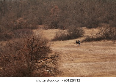 Two people hiking on a field up in the mountains