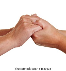 Two people holding hands for condolence