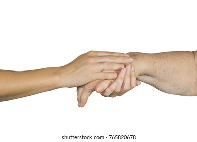 Two people holding hands with a doctor, holding the patient for support and empathy, isolated white background