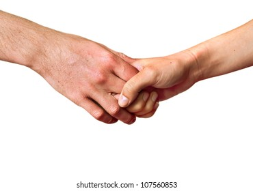Two people holding hands in a sensitive way, showing affection instead a business relationship isolated on white